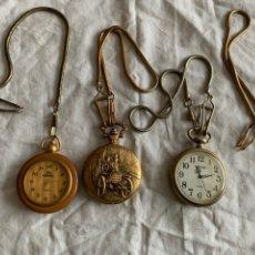 Relojes: LOTE 3 RELOJES BOLSILLO CON 4 CADENAS.. Lote 197548988