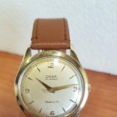 Relojes: RELOJ DE CABALLERO (VINTAGE) DOXA AUTOMÁTICO CHAPADO DE ORO, ESFERA BLANCA, CORONA ORIGINAL, CORREA. Lote 199152761