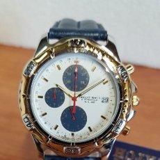 Relojes: RELOJ CABALLERO ORIENT CUARZO, CRONOGRAFO, BICOLOR, CALENDARIO A LAS TRES HORAS, ACERO, CORREA CUERO. Lote 199156345