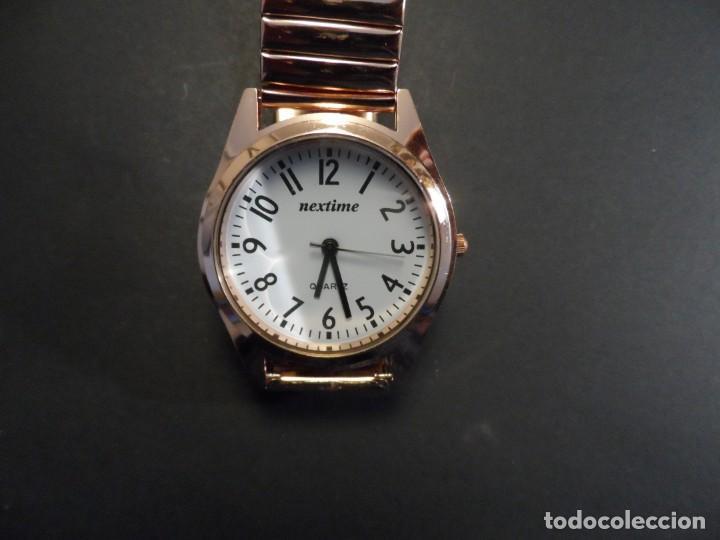 Relojes: RELOJ CORREA ELASTICA Y CAJA ACERO DORADO ORO ROJO. MARCA EXACTIME. ESFERA BLANCA. QUARTZ. SIGLO XXI - Foto 5 - 199757386