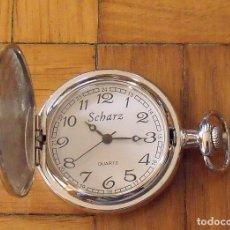 Relojes: SCHARZ. RELOJ BOLSILLO. BUEN ESTADO. SIN PILA. FUNCIONA. 4,5 CM DIÁMETRO. CON GRABADO EXTERIOR. . Lote 200811020