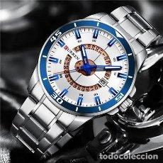 Relojes: RELOJ HOMBRE QUARTZ CON CALENDARIO. CAJA Y CORREA ACERO INOX.. Lote 200811976