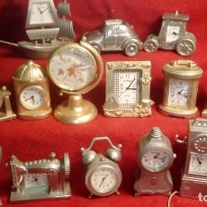 Relojes: LOTE DE 15 RELOJES DE COLECCION EN MINIATURA LE TEMPS - COCHE BARCO TELEFONO MAQUINA COSER ...... . Lote 201306801