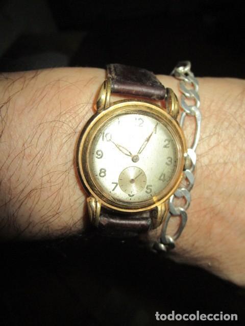 Relojes: MARCA HUMA RELOJ ANTIGUO PULSERA CABALLERO CHAPADO EN ORO CONTRASTE RARO FUNCIONANDO - Foto 19 - 128600183