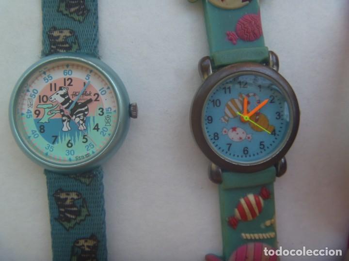 Relojes: LOTE DE 5 RELOJES INFANTILES: HELLO KITTY, MICKEY MOUSE, FLIK-FLAK, ETC - Foto 2 - 208292616