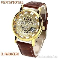 Relojes: PRECIOSO Y LUJOSO RELOJ DE ALEACION DE ORO DE ESFERA DE ESQUELETO PULSERA MARRON - Nº18. Lote 210967832