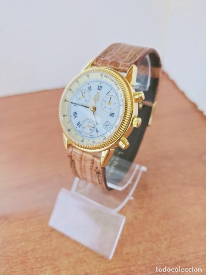 Relojes: Reloj caballero Royal GEOGRAPHICAL, cuarzo, cuatro bobinas, crono, caja chapada oro, corona rosca. - Foto 2 - 213428945