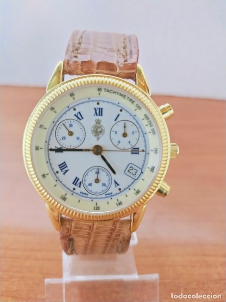 Relojes: Reloj caballero Royal GEOGRAPHICAL, cuarzo, cuatro bobinas, crono, caja chapada oro, corona rosca. - Foto 10 - 213428945