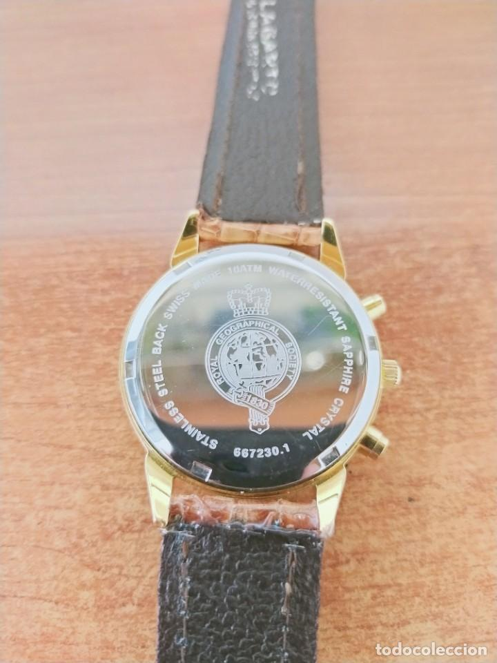 Relojes: Reloj caballero Royal GEOGRAPHICAL, cuarzo, cuatro bobinas, crono, caja chapada oro, corona rosca. - Foto 15 - 213428945