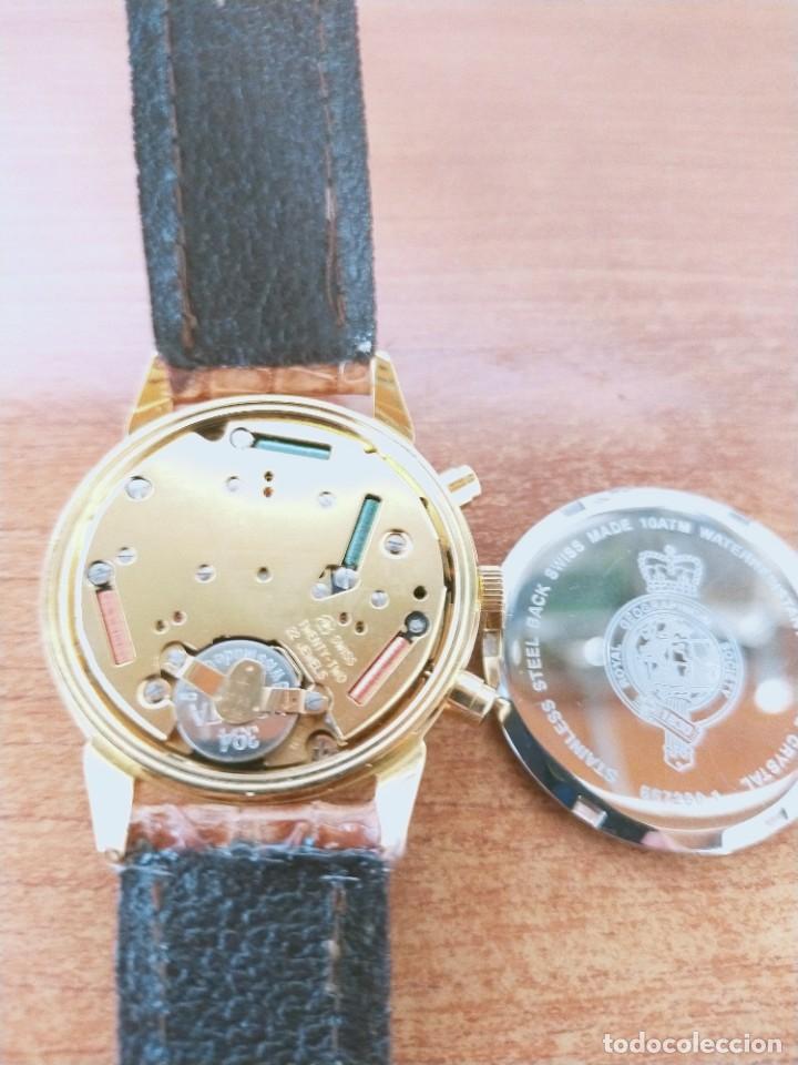 Relojes: Reloj caballero Royal GEOGRAPHICAL, cuarzo, cuatro bobinas, crono, caja chapada oro, corona rosca. - Foto 17 - 213428945