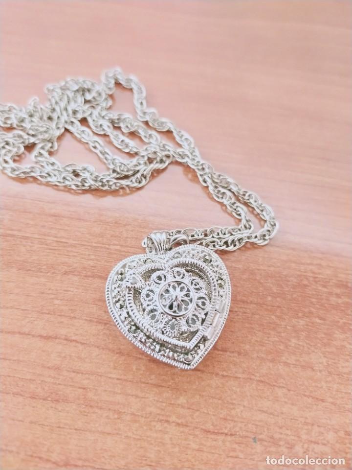 Relojes: Reloj de colgar 3M cuarzo acero, doble tapa con piedras malaquita, cadena para colgar, nuevo sin us - Foto 4 - 213430066
