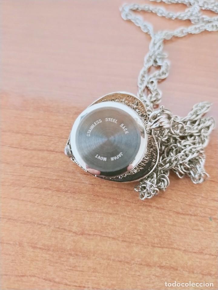 Relojes: Reloj de colgar 3M cuarzo acero, doble tapa con piedras malaquita, cadena para colgar, nuevo sin us - Foto 5 - 213430066