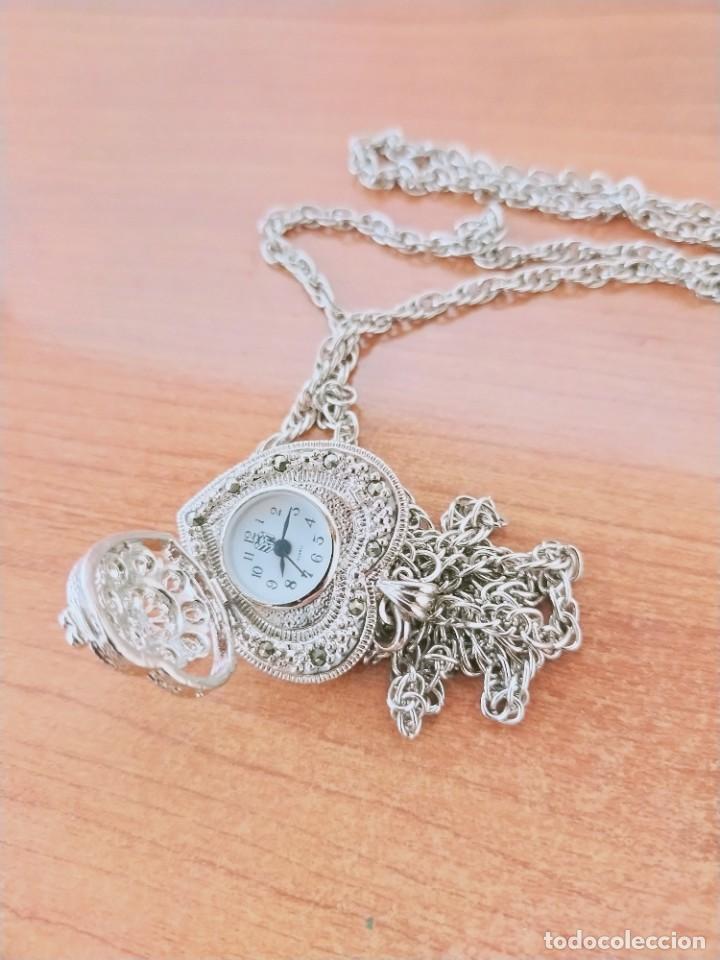 Relojes: Reloj de colgar 3M cuarzo acero, doble tapa con piedras malaquita, cadena para colgar, nuevo sin us - Foto 7 - 213430066