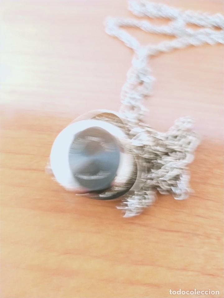 Relojes: Reloj de colgar 3M cuarzo acero, doble tapa con piedras malaquita, cadena para colgar, nuevo sin us - Foto 8 - 213430066
