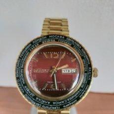 Relojes: RELOJ (VINTAGE) CABALLERO RUSO PAKETA CUERDA MANUAL, CHAPADO DE ORO, BISEL HORA MUNDIAL ORIGINAL.. Lote 213238812