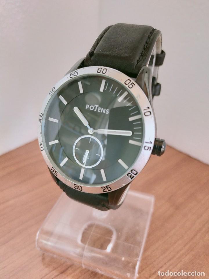 Relojes: Reloj caballero (Vintage) POTENS cuarzo, caja de acero pavonada negra, esfera negra, segundero seis. - Foto 2 - 213798435