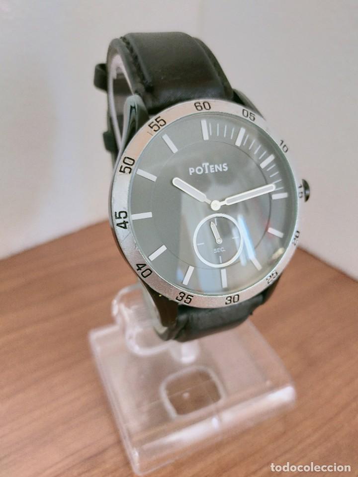 Relojes: Reloj caballero (Vintage) POTENS cuarzo, caja de acero pavonada negra, esfera negra, segundero seis. - Foto 3 - 213798435