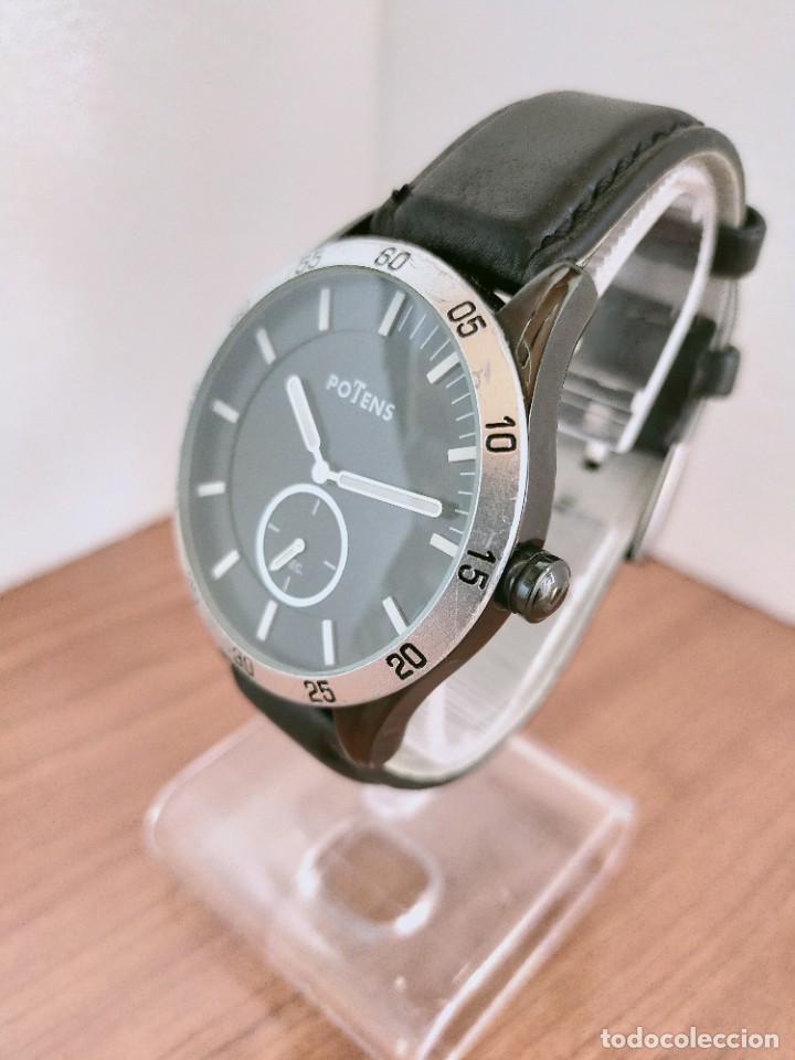Relojes: Reloj caballero (Vintage) POTENS cuarzo, caja de acero pavonada negra, esfera negra, segundero seis. - Foto 4 - 213798435