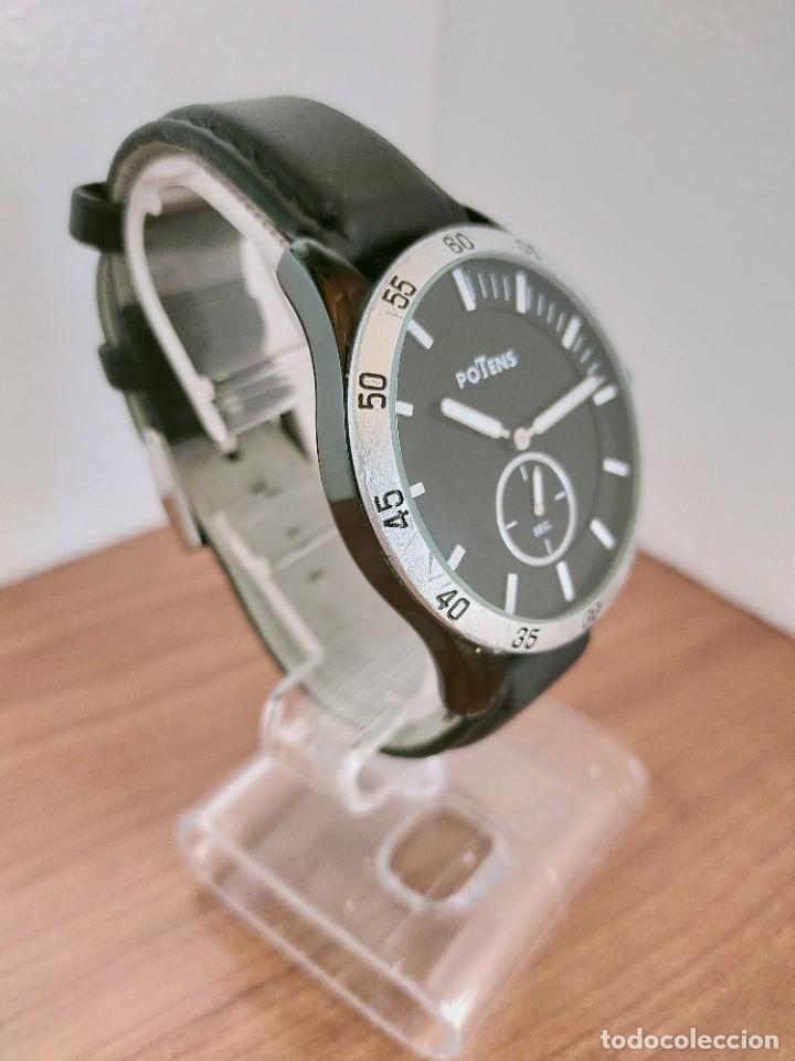 Relojes: Reloj caballero (Vintage) POTENS cuarzo, caja de acero pavonada negra, esfera negra, segundero seis. - Foto 5 - 213798435