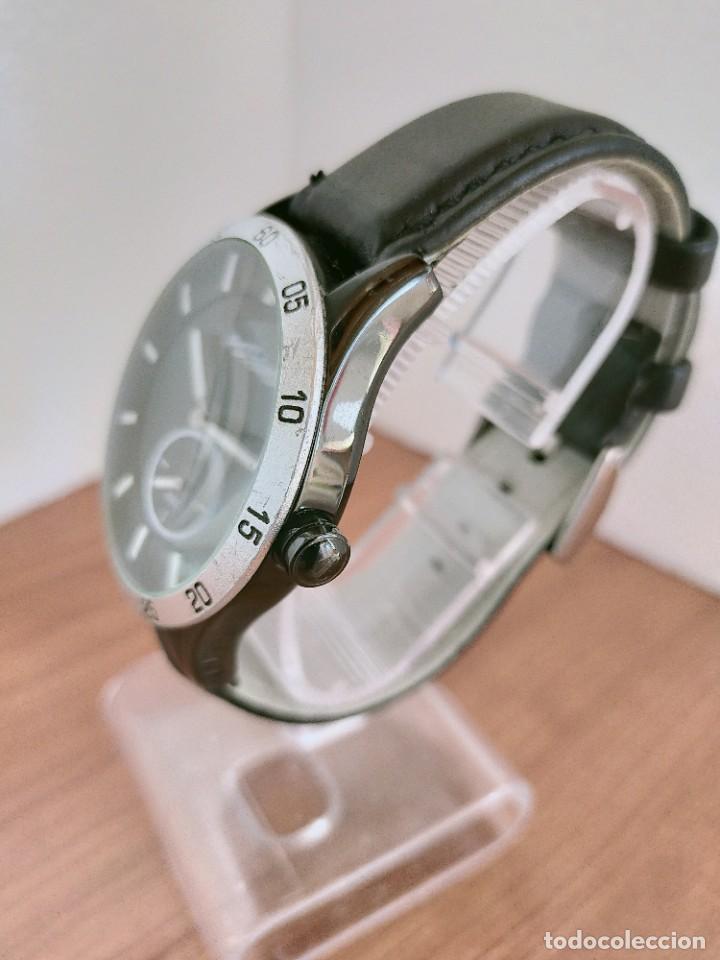 Relojes: Reloj caballero (Vintage) POTENS cuarzo, caja de acero pavonada negra, esfera negra, segundero seis. - Foto 6 - 213798435