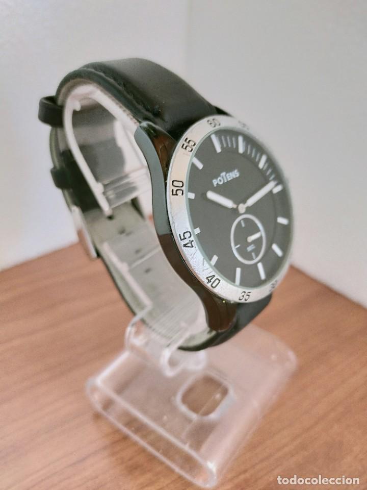 Relojes: Reloj caballero (Vintage) POTENS cuarzo, caja de acero pavonada negra, esfera negra, segundero seis. - Foto 7 - 213798435