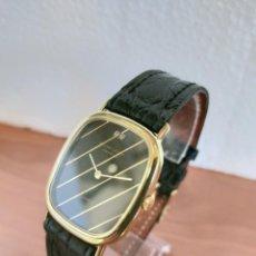 Relojes: RELOJ UNISEX (VINTAGE) FAVRE LEUBA CUARZO, CHAPADO DE ORO MAQUINA SUIZA, ESFERA NEGRA, CORREA NEGRA.. Lote 213818167