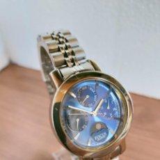 Relojes: RELOJ SEÑORA (VINTAGE) FOCUS CUARZO ACERO, MULTIFUNCIÓN, FASE LUNAR LAS SEIS CORREA ACERO ORIGINAL.. Lote 213821083