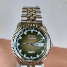Relojes: RELOJ CABALLERO (VINTAGE) KOWAL AUTOMÁTICO, DOBLE CALENDARIO LAS TRES, ESFERA VERDE, CORREA ACERO.. Lote 213872801