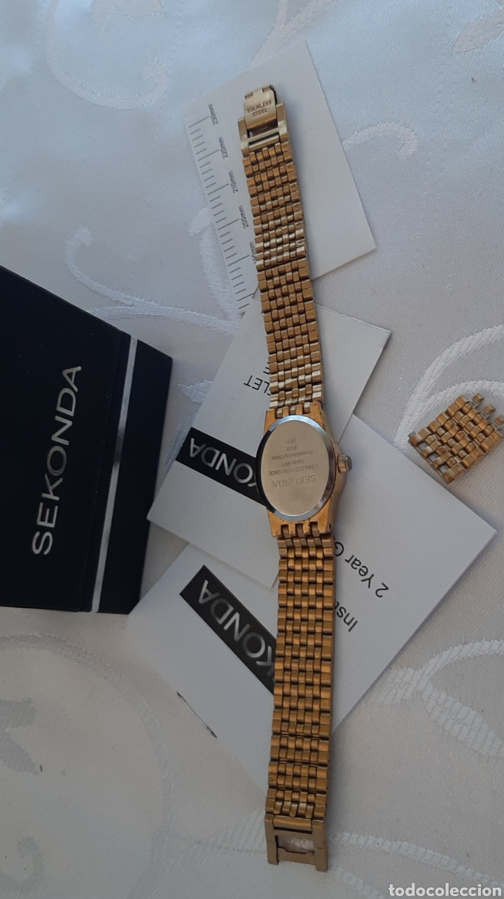 Relojes: Reloj vintage de mujer SEKONDA de Quartz. en caja original funcionado, color dorado. - Foto 3 - 215356046