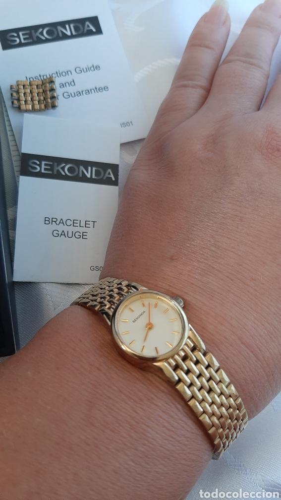 Relojes: Reloj vintage de mujer SEKONDA de Quartz. en caja original funcionado, color dorado. - Foto 9 - 215356046