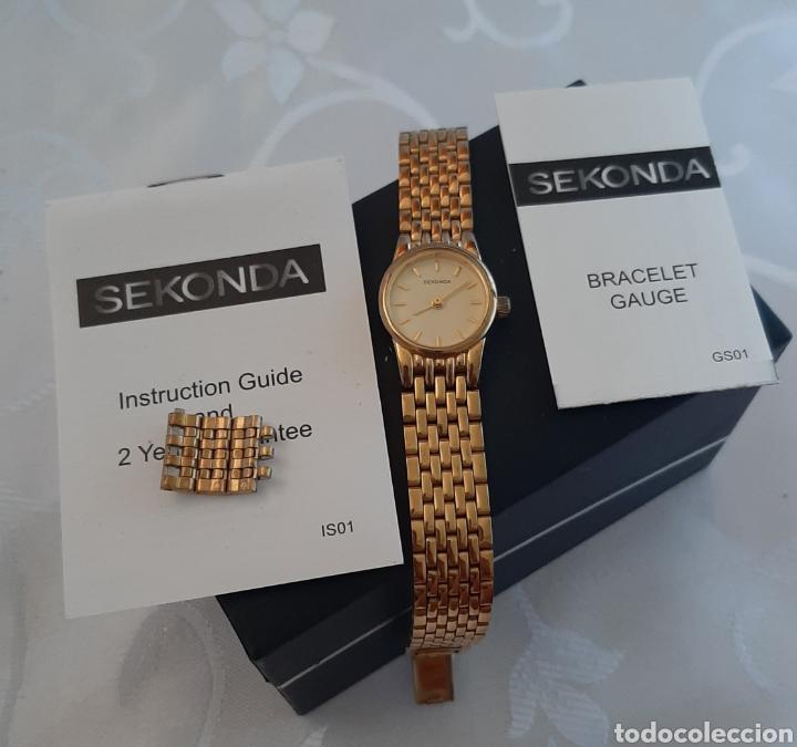 Relojes: Reloj vintage de mujer SEKONDA de Quartz. en caja original funcionado, color dorado. - Foto 10 - 215356046