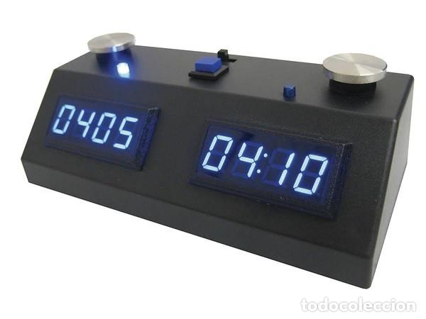 Relojes: Chess. ZMF-II Reloj de ajedrez digital con pantalla LED azul y caja negra - Foto 2 - 218036836