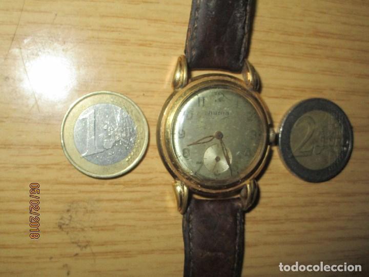 Relojes: MARCA HUMA RELOJ ANTIGUO PULSERA CABALLERO CHAPADO EN ORO CONTRASTE RARO FUNCIONANDO - Foto 21 - 128600183