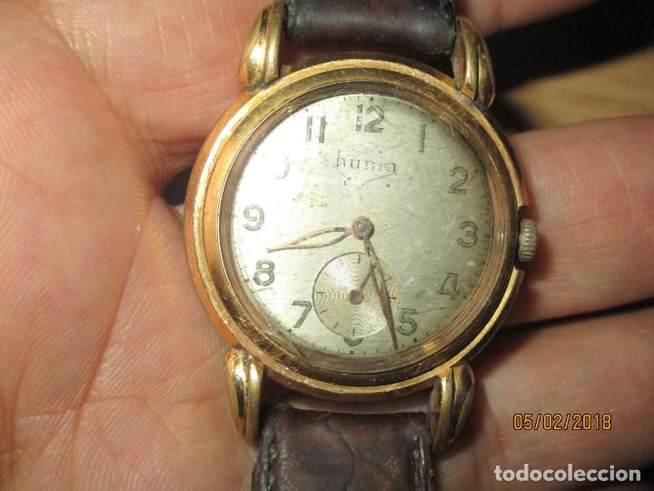 Relojes: MARCA HUMA RELOJ ANTIGUO PULSERA CABALLERO CHAPADO EN ORO CONTRASTE RARO FUNCIONANDO - Foto 24 - 128600183