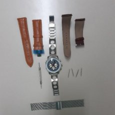 Relojes: RELOJ SUIZO ROTARY CHRONOSPEED CON 4 CORREAS CRONOGRAFO TAQUÍMETRO 42MM. MILITAR PILOTO AVIADOR.. Lote 220989327