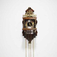 Relojes: RELOJ DE PARED MADERA Y BRONCE. Lote 221806002