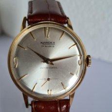 Relojes: RELOJ CABALLERO (VINTAGE) KARDEX CUERDA MANUAL CHAPADO DE ORO 20 MICRAS, CORREA CUERO MARRÓN NUEVA.. Lote 222360196