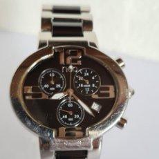 Relojes: RELOJ CABALLERO CRONO NEO ACERO CUARZO, ESFERA NEGRA, CALENDARIO CUATRO HORAS, CORREA ACERO ORIGINAL. Lote 222469101