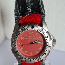 Relojes: RELOJ CABALLERO CUARZO DEWARD - WIHTE LAVEL EN ACERO ESFERA EN ROJO Y CORREA ACERO ORIGINAL.. Lote 222697706