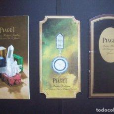Relojes: TRES CATALOGOS RELOJES PIAGET. AÑOS 70. INCLUYE LISTA DE PRECIOS DE LA EPOCA. Lote 224216810