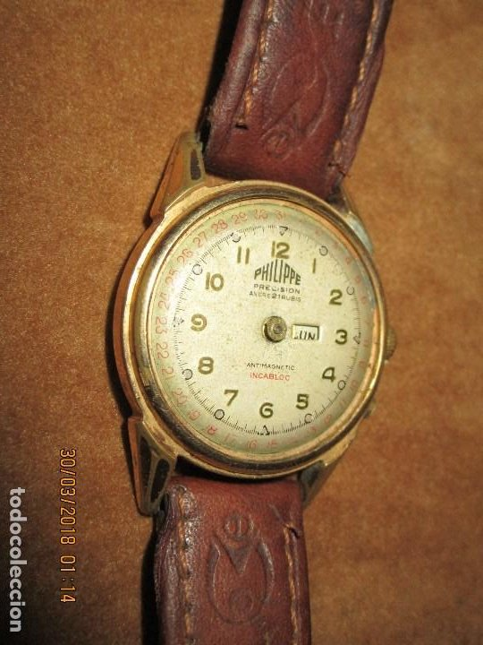 Relojes: PHILIPPE PRECISION 21 RUBIES DOS SELLOS RELOJ PULSERA GRANDE PLACA DE ORO 2º GUERRA MUNDIAL SS - Foto 2 - 203962485