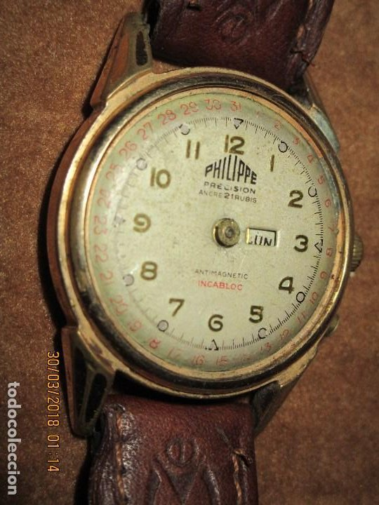 PHILIPPE PRECISION 21 RUBIES DOS SELLOS RELOJ PULSERA GRANDE PLACA DE ORO 2º GUERRA MUNDIAL SS (Relojes - Relojes Actuales - Otros)