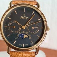 Relojes: RELOJ CABALLERO KALTER ACERO CHAPADO ORO DE CUARZO, ESFERA NEGRA, MULTIFUNCIÓN, CORREA MARRÓN NUEVA.. Lote 230989240