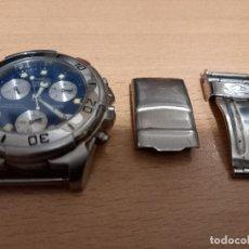 Relojes: RELOJ DE PULSERA CABALLERO SECTOR ACERO SUMERJIBLE 100 METROS CRONO Y PIEZAS PARA CORREA. Lote 232236100