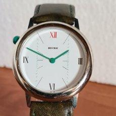 Relojes: RELOJ UNISEX DE CUARZO BEUCHAT ESFERA COLOR BLANCA, CORREA CUERO VERDE SIN USO, RELOJ STOCK TIENDA.. Lote 242995815