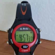 Relojes: RELOJ CUARZO DIGITAL G-BODY DE ACERO Y SILICONA, DÍA, MES, AÑO, ALARMA, CRONO, CORREA ORIGINAL NUEVO. Lote 243182490