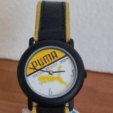 Relojes: RELOJ UNISEX DE CUARZO PUMA, ESFERA CON ANAGRAMA PUMA COLOR AMARILLA Y BLANCA, CORREA NEGRA PUMA.. Lote 243189510