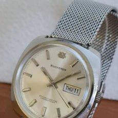 Relojes: RELOJ CABALLERO (VINTAGE) BUCHERER AUTOMATICO EN ACERO, ESFERA BLANCA CON DOBLE CALENDARIO CORREA.. Lote 243238155