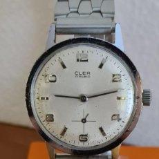 Relojes: RELOJ CABALLERO (VINTAGE MARCA CLER ACERO DE CUERDA MANUAL, 17 RUBIS, ESFERA BLANCA, CORREA ACERO.. Lote 243251880