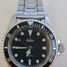 Relojes: RELOJ CABALLERO (VINTAGE) KALTER DE CUARZO ACERO, ESFERA NEGRA, BISEL GIRATORIO, CALENDARIO, CORREA. Lote 243355850